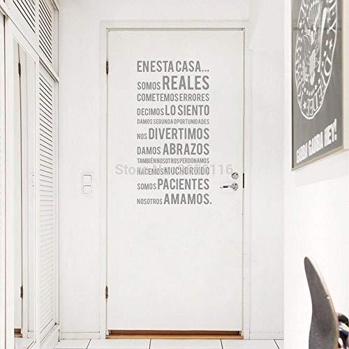 Spanisch Aufkleber In diesem Haus Vinyl Wandtattoos für Zuhause 43x85cm ()