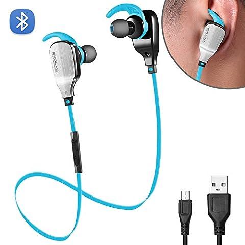 Evolva Future Technology Sport Wireless In-Ear Bluetooth Kopfhörer Mit Eingebautem Mikrofon Für IPhone, Samsung, Android Smartphones (Blau)