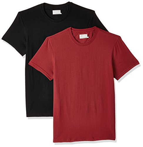Peter England Men's Solid Slim Fit T-Shirt (EKC51610094_Red and Black_Medium) (Pack of...