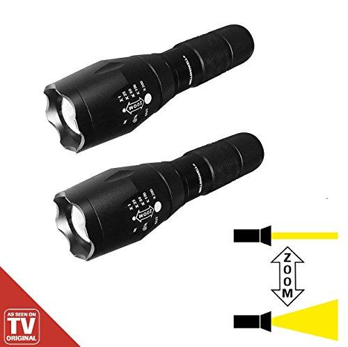 Tac Light LED Taschenlampe 2 Stück robust & ultrastark CREE LED CHIP 5.000 Lux Zoomfunktion das Original von Mediashop