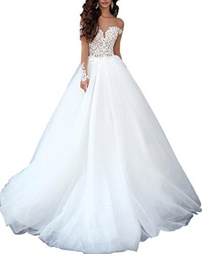 Changjie Damen Illusionsausschnitt Brautkleider Hochzeitskleider Langarm Hochzeitskleider Lang Prinzessin Elfenbein