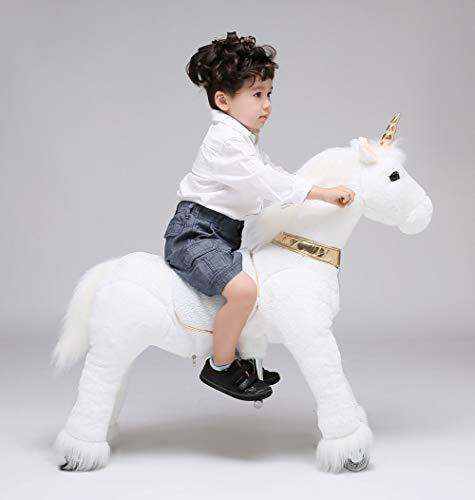UFREE Horse Action Pony, Ritt auf Spielzeug, mechanisch bewegendes Pferd, Kinderwagen für Kinder von 4 bis 9 Jahren, Größe 93 cm, Einhorn mit goldenem Horn (Ritt Auf Dem Einhorn)