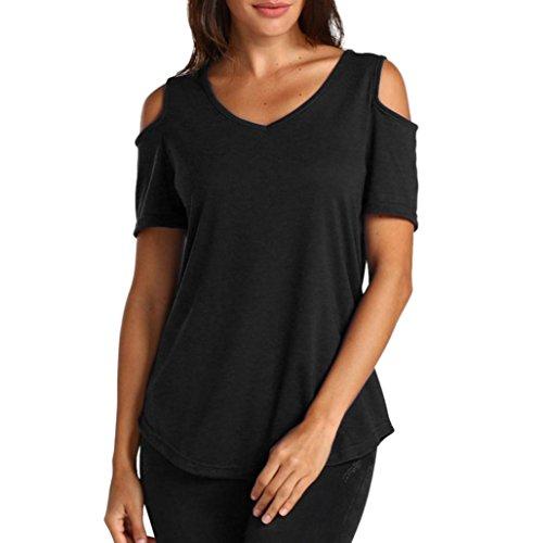 GreatestPAK Schulterfreies T-Shirt Frauen Damen Rundhalsausschnitt Kurzarm Bluse Casual,Schwarz,XXL (Schulterfreies T-shirt)