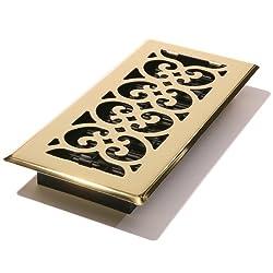 Decor Grates SPH410 Scroll Floor Register, Polished Brass Finish, 4 x 10-Inch