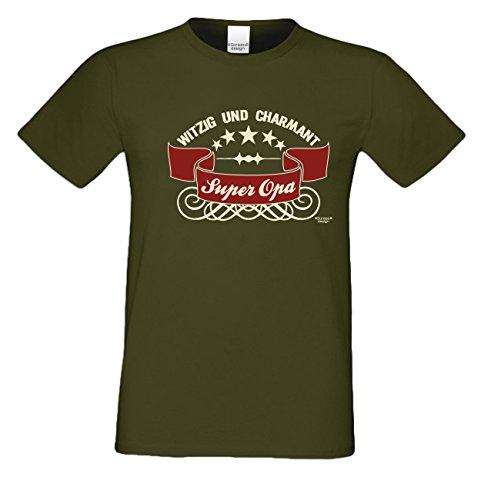 Geschenk-Set :: Super Opa :: T-Shirt und Urkunde : Geschenkidee als Geburtstagsgeschenk Weihnachtsgeschenk Herren Geschenk - auch Übergrößen Farbe: khaki Khaki