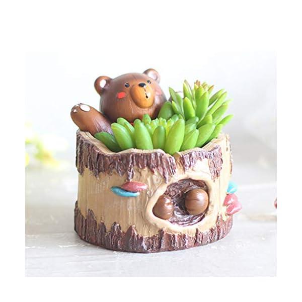 Eliky – Maceta de resina, decorada, con diseño de árbol 3