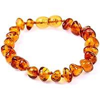 SilverAmber - Cavigliera in ambra baltica, realizzata a mano, 100% perle di ambra genuina, qualità premium, misure 11-20…
