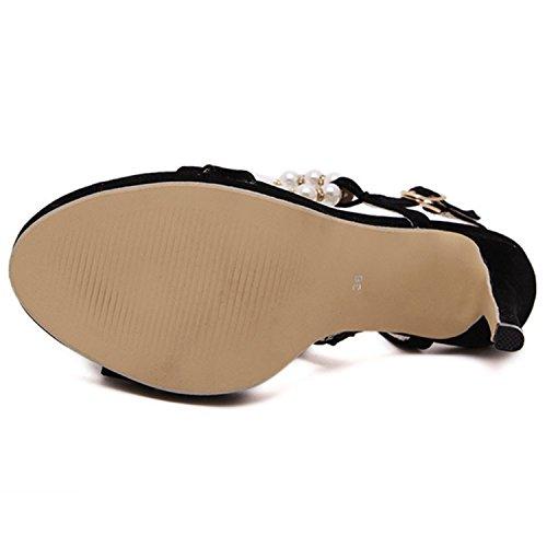Oasap Women's Open Toe High Heels Pearls Slingback Sandals Black