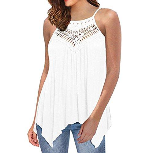 ZIYOU Frauen Elegant Sommer Weste, Casual Ärmellose Oberteile/Damen Spitze Camisole Top Bluse Einfarbig Cami Bustier (Weiß, EU-44 / CN-XL)