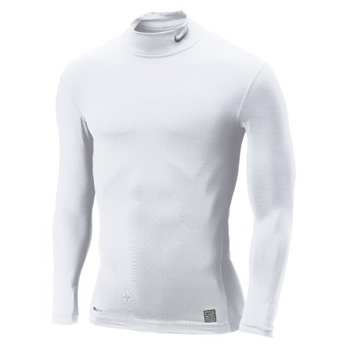 Nike Herren Funktionsshirt Core Compression Slvion Long Sleeve Mock, white, L, 269606-100_L (Nike Herren Core)