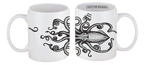 Tasse mug petit-déjeuner de porcelaine blanche 30 cl. style vintage Modèle Kraken