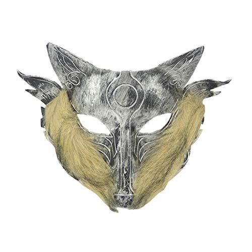 Hffan Halloween Maske Cosplay Wolf Kostüm Maske Vollgesichtsmaske Für Männer Frauen Mit Haaren Prom Tanzmaske Party Kostüm Gesichtsmaske Karneval Gesichtsmaske Kopfmask -