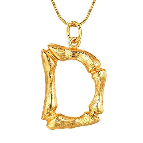 FOCALOOK Damen Halskette 1,2mm/55cm Gelbgold überzogend Schlangenkette mit Buchstabe D Anhänger Initiale Schmuck für Mädchen Groß Bambus Stil Anhänger Geburtstag