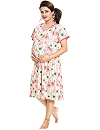 Tucute Women's Hosiery Short Feeding / Nursing / Maternity Nighty / Nightwear / Nightdress with Floral Print ( Pink) 1842
