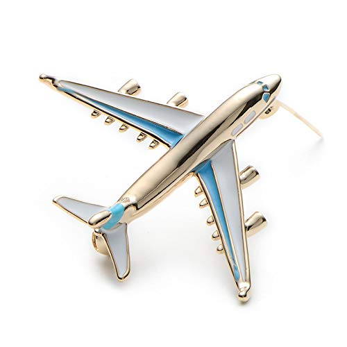Legierung Flugzeug Brosche Pins Emaille Rot Blau Flugzeug Luxus Marke Broschen Für Frauen Männer Kostüme Flugzeug Brosche, 3,5 * 3,0 cm (Blaue Tintenfisch Kostüm)
