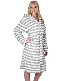 """6addc31e8f Bademantel Morgenmantel Saunamantel """"Luxus"""" weiß/grau Streifen für Damen  und Mädchen Größe S/M, L/XL…"""