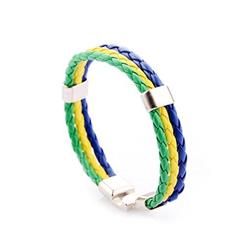 Yinew Brasilien (grün gelb blau) Pu Leder Münze Armband Weben Nationalflagge Farbe Lederarmband World Cup Land Armband (Münze Brasilien)