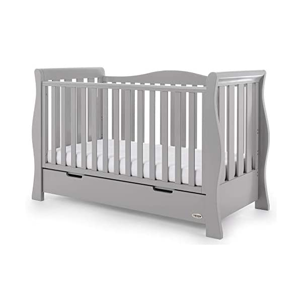 Obaby Stamford Luxe Sleigh Cot Bed, Warm Grey Obaby Adjustable 3 position mattress height Sides remove to transform into toddler bed Includes matching under drawer for storage 9