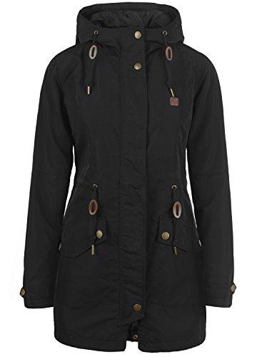 DESIRES Sakura Damen Übergangsmantel Parka Jacke mit Kapuze, Größe:S, Farbe:Black (9000)