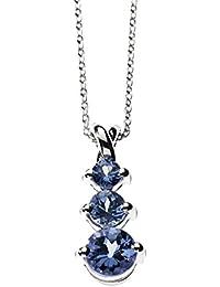 3 pendentifs bleu tanzanite de voyage en pierres précieuses avec 925 collier  en argent massif 7ab0e3a8694d