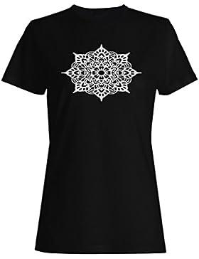 Mandala En Negro camiseta de las mujeres n321f