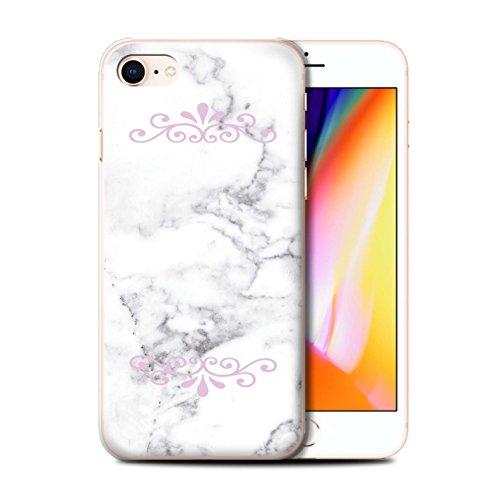Personalisiert Weiß Marmor Mode Hülle für Apple iPhone 7 / Solide Silber Herz Design / Initiale/Name/Text Schutzhülle/Case/Etui Gerahmt Rosa Marke