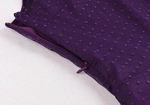 Oriention Damen Rockabilly Kleid, Sexy Ärmellos 50er jahre Plus Size Größe Knielanges AbendKleid Cocktailkleid Festliche Petticoat Kleid Gr.38-54 Lila