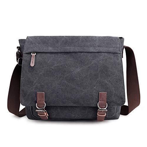 Fach Messenger Bag (Nlyefa Umhängetaschen Laptopfach Schultertasche Canvas Messenger Bag Kuriertasche für Schule Uni Büro, EINWEG)