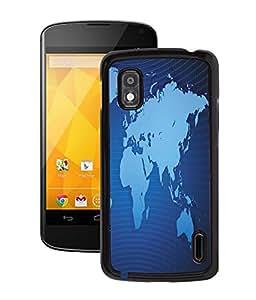 Fuson 2D Printed World Map Designer Back Case Cover for LG Google Nexus 4 - D947