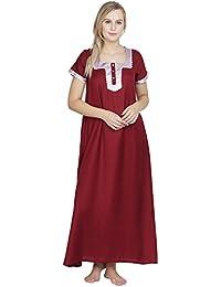 2753a7635d Patrorna Women s A-Line Maternity Nighty Night Dress in Maroon (Size S-7XL