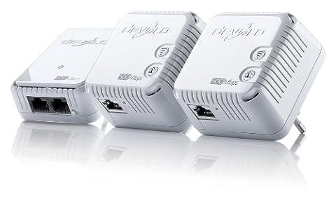 devolo dLAN 500 WiFi Network Kit Powerline (500 Mbit/s Internet über die Steckdose, 300 Mbit/s über WLAN, 1x LAN Port, 3x Powerlan Adapter, PLC Netzwerkadapter, WLAN Booster, WiFi Move)