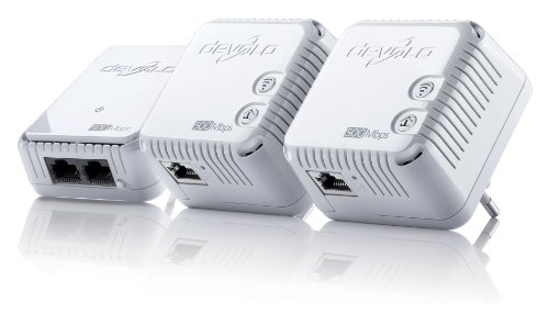 devolo dLAN 500 WiFi Network Kit Powerline (500 Mbit/s Internet über die Steckdose, 300 Mbit/s über WLAN, 1x LAN Port, 3x Powerlan Adapter, WLAN Adapter, WLAN Booster, WiFi Move) weiß