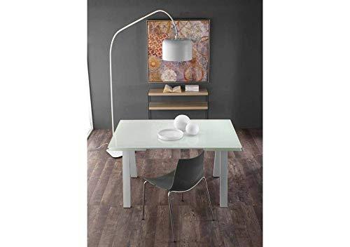 Generico Table de Salle à Manger, Structure en métal Couleur Gris, avec Plateau en Verre trempé Couleur Blanc Mat - Dimensions L 140 P 90 H 75 cm Extensible jusqu'à 220 cm