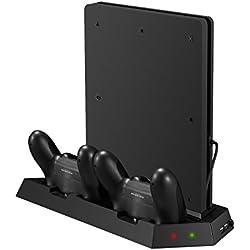 Estacion de carga y refrigeración para PS4 Slim y mandos Dualshock + 3 puertos USB