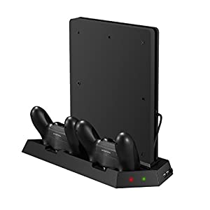 Younik PS4 Slim Vertical Stand Kühlgebläse mit Dualshock Controller Ladestation und USB HUB Charger Ports – 4 in 1 Stand…