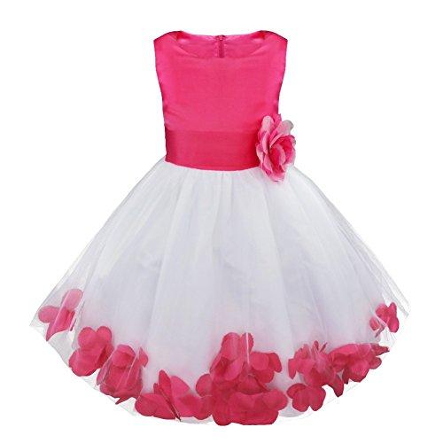 Freebily Blumenmädchen Kleider Mädchen Festliches Tutu Kleid Hochzeitkleider Kinder ärmellose Partykleider Chiffon Festzug Kleidung Gr. 92/164 Rose 128 (Kleidung Kleid Kinder)