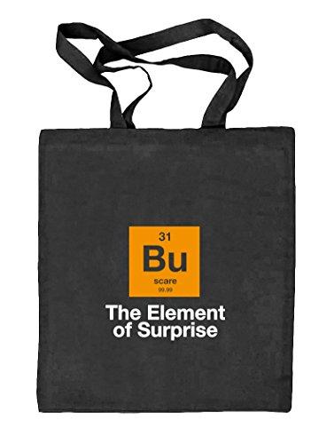 Shirtstreet24, Halloween - The Element Of Surprise, Nerd Natur Stoffbeutel Jute Tasche (ONE SIZE) schwarz natur