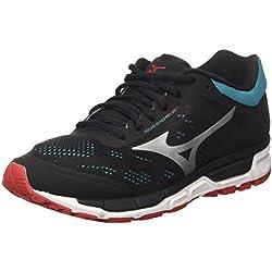 Mizuno Synchro MX, Zapatillas de Running para Hombre, (Black/chinesered/tileblue), 42 EU