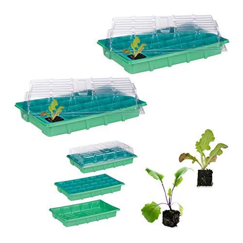Relaxdays set da 2 mini serre per 24 piante, con coperchio, semenzaio, davanzale, balcone, germinatore 38 x 24,5 cm, verde