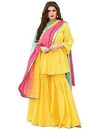 Monika Silk Mill Women's Yellow Colored Cotton Semi Stitched Sahara Suit with Dupatta