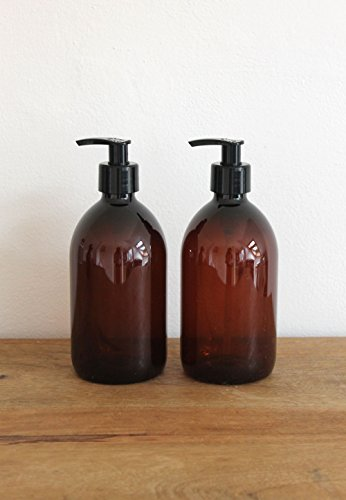 Set von zwei Bernstein braun Kunststoff Flasche Seifenspender Flasche von kuishi, plastik, bernsteinfarben, 500 ml