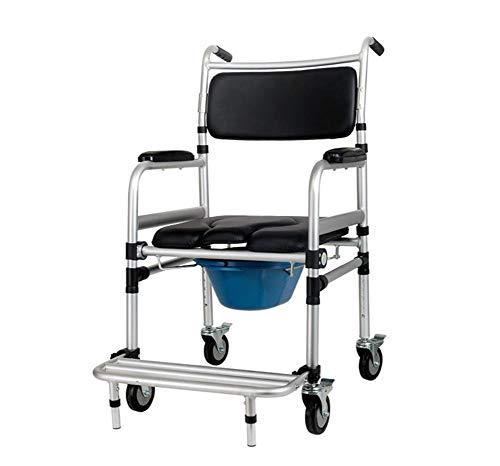 J.GH Healthcare YC7800J Kommode auf Rollen - über Toilettenstuhl mit gepolstertem Sitz und Rücken - höhenverstellbar und Vier Räder mit Bremse
