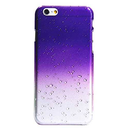 Telefon-Kasten - TOOGOO(R) 1X Zubehoer Set fuer Apple iPhone 6 4.7 Zoll Rain Drop Hard Kunststoff Transparent Regentropfen Tropfen Huellen Schutzhuelle Tasche Protection Case Protective Cover Schwarz Lila
