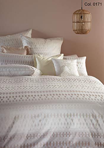 Curt Bauer Luxuriöse Mako-Brokat-Damast Bettwäsche Velda 155 x 220 cm + 80x80 cm Komfortgröße Farbe: Pearl dust Brocade Pearl