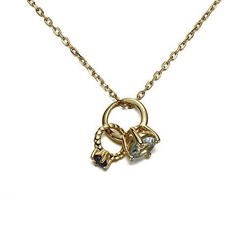 QueenAILSA 925 Sterling Silber Natürlichen Saphir Ring Damen Halskette Mädchen Freundinnen (Farbe änderung Saphir)
