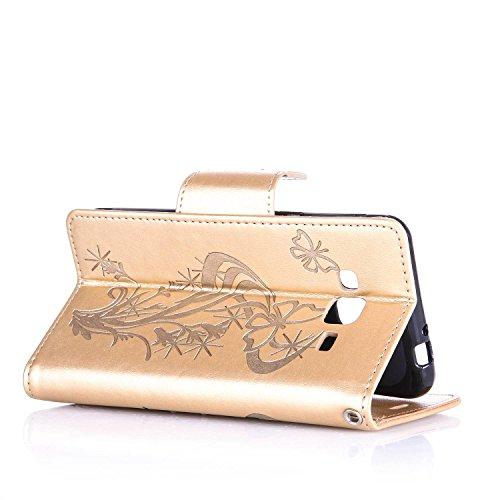 Custodia Galaxy J3 ISAKEN Cover Samsung Galaxy J3 con Strap, Elegante borsa Dente di leone Design in Pelle Sintetica Ecopelle PU Case Cover Protettiva Flip Portafoglio Case Cover Protezione Caso con S Diamnate farfalle : gold