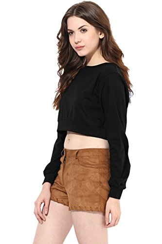 Miss Chase Women's Crop Top (MCPF13TP01-15_Black_S)