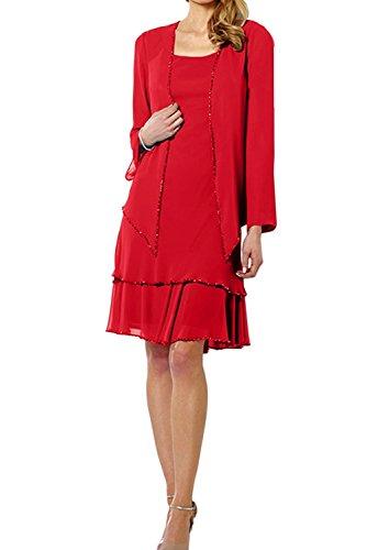 TOSKANA BRAUT Glamour Damen Blau Mutterkleider Neu Chiffon Partykleider Knielang 2017 Promkleider Abendkleider mit Jacke Rot