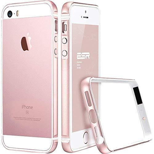 ESR Kompatibel mit iPhone SE Hülle, iPhone 5S Hülle, iPhone 5 Hülle, Fluencia Series Metallrahmen mit weiche TPU Bumper Innerhalb für iPhone SE/5S/5 - Rosy Gold (Iphone 5 Aluminium Bumper)