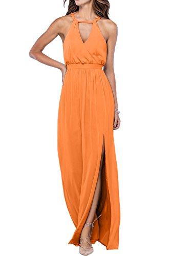 Missdressy Romantisch A-Linie Lang Neckholder Schlitz Chiffon Abendkleider Partykleider Brautmutterkleider Orange